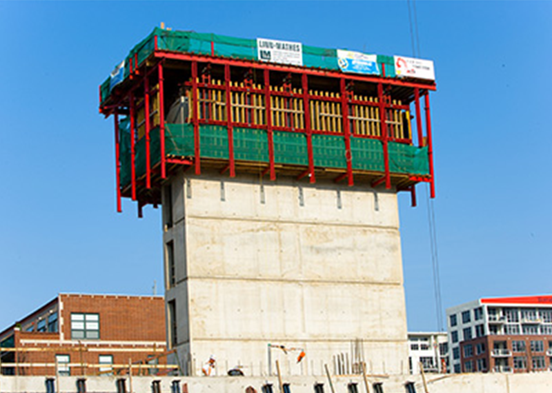 Self-Riser climbing formwork system for elevator and stairwell core forming on high-rise construction projects